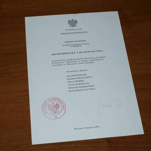 NAGRODA III STOPNIA MINISTRA SPRAW WEWNĘTRZNYCH